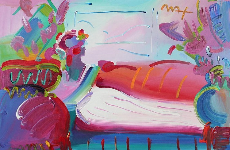 Peter Max Lady in Repose Painting on Canvas