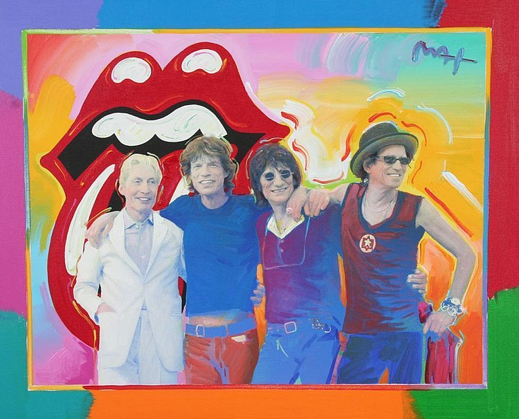 Peter Max Mixed Media Painting on Canvas of the Rolling Stones
