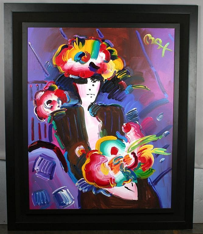 Peter Max Lady with Flowers Painting on Canvas
