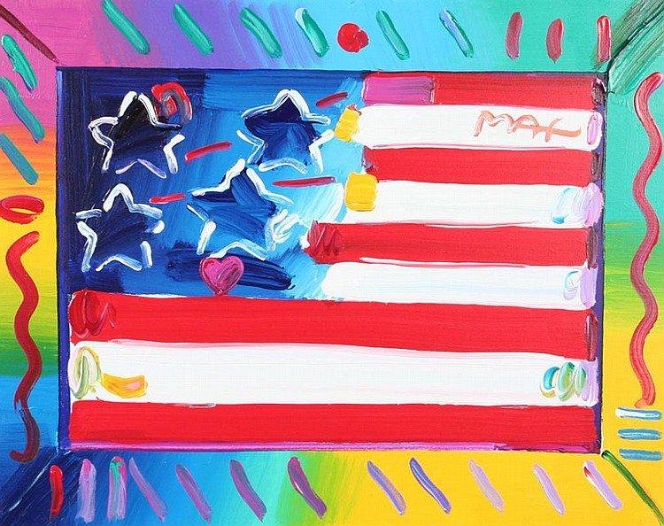 Peter Max Painting of an American Flag with Heart on Canvas
