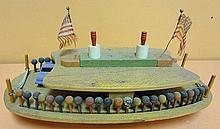 41. Vintage Wooden Ferry Boat Toy