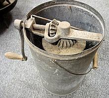 48. Tin Ice Cream Maker with Crank Handle