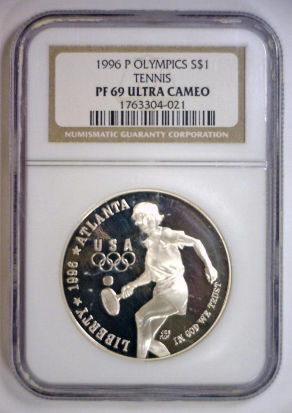 1996-P Tennis Silver Proof $1 NGC PF69 UCAM