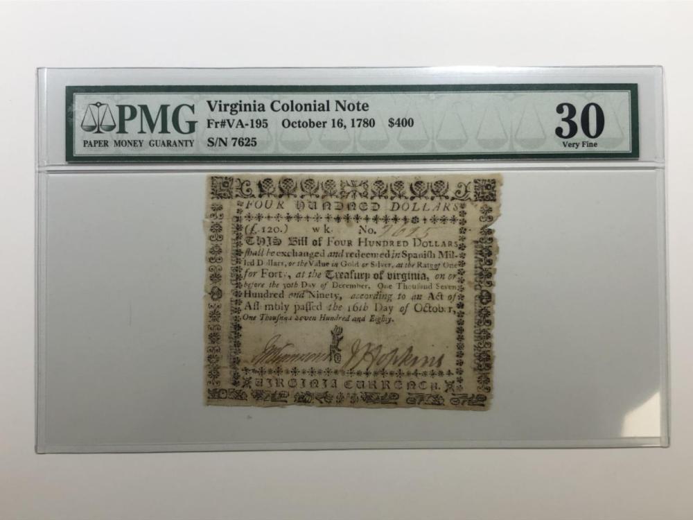 1780 $400 Virginia Colonial Fr#VA-195 PMG VF30