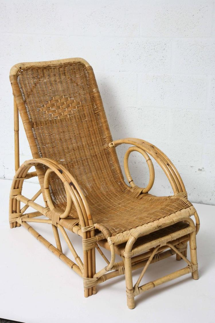 Vintage french provence bamboo and rattan longue chaise with for Chaise longue rattan sintetico