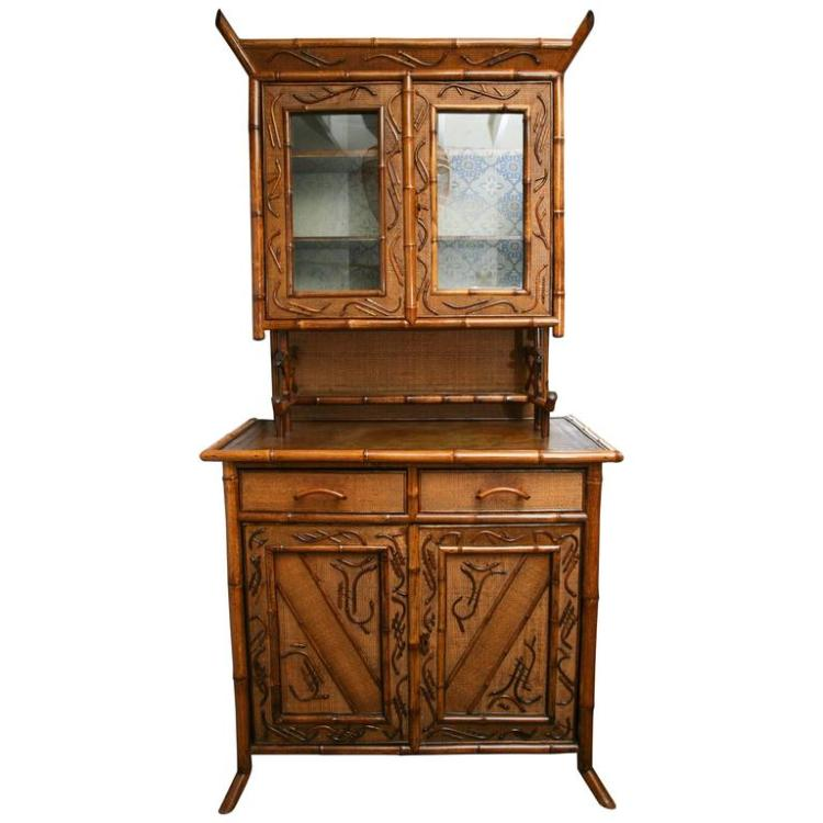 Superb 19th Century English Bamboo Cupboard or Buffet