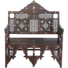 19th Century Syrian Carved Inlaid Bench