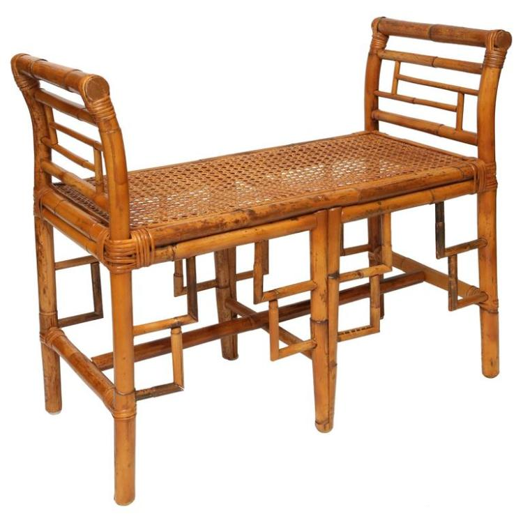 Vintage Bamboo Bench with Cane Seat