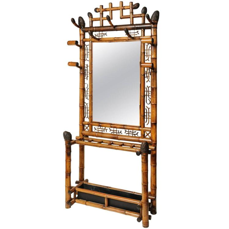 Rare 19th English Bamboo Hall Stand with Umbrella Rack