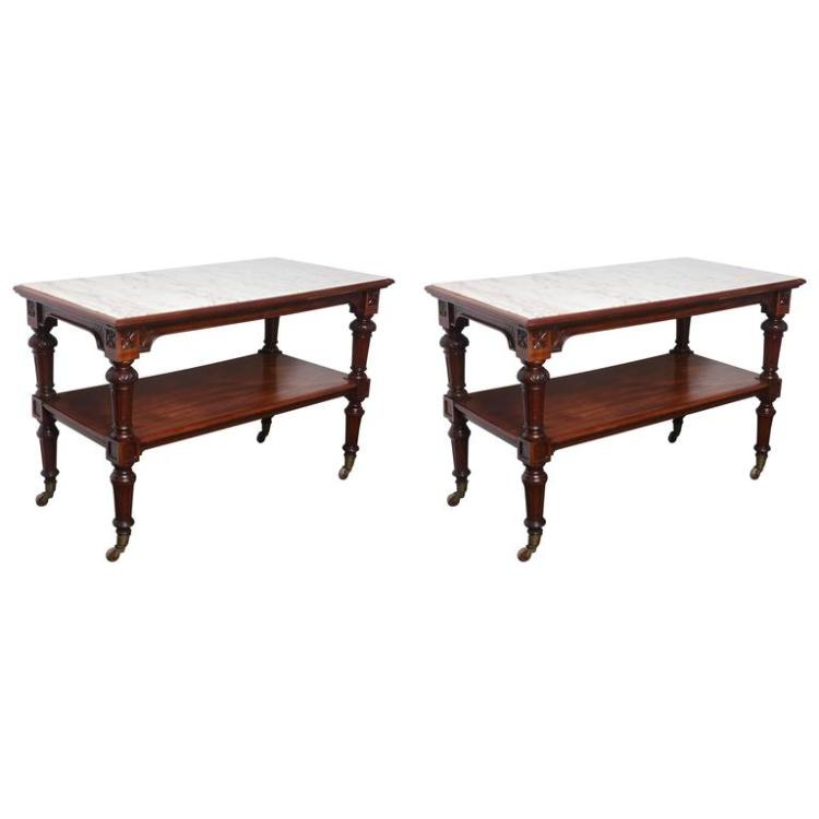 Amazing Pair of 19th Century Marble-Top Carved Mahogany Console Tables
