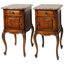 Pair of 19th Century French Marble-Top Nightstands
