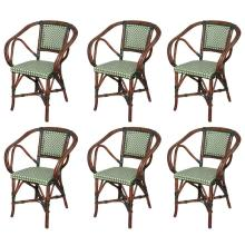 Three French Pairs of Bamboo Vintage Cafe Armchairs