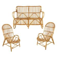 Superb Set of French Vintage Bamboo Settee with Two Armchairs and Magazine Rack