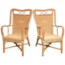 Superb Pair of French Provence Vintage Rattan Armchairs
