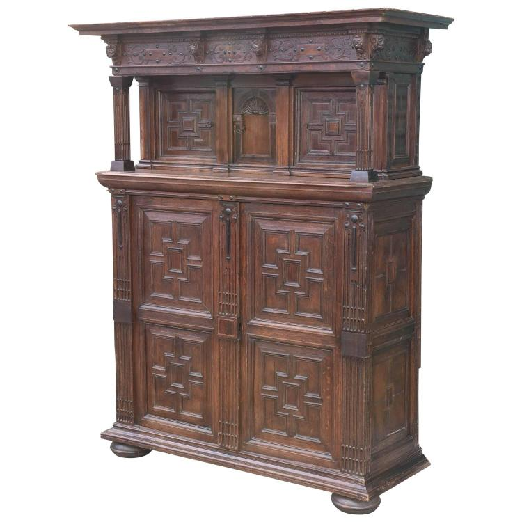 Very Impressive 19th Century French Oak Court Cupboard