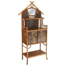 19th Century English Bamboo Etagere and Cabinet