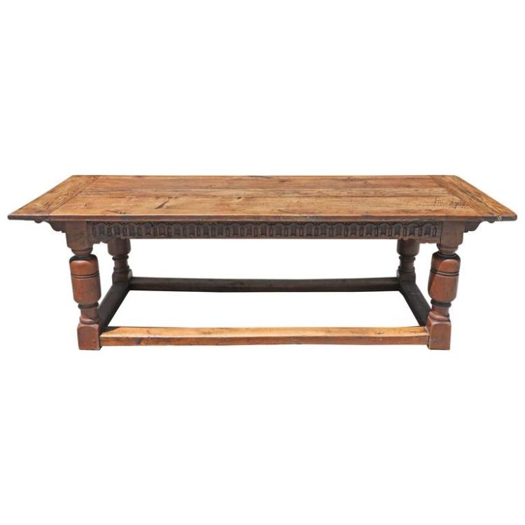 19th Century English Large Solid Oak Refractory Dining or Kitchen Table