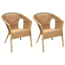 Great Pair of French Vintage Rattan Armchairs