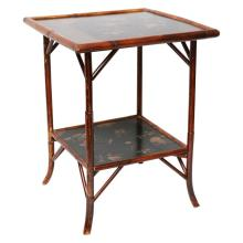 Fine English Bamboo Two Tier Side Lacquer Table