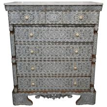 Stunning 19th Century Five-Drawer Mother of Pearl Inlay Dresser