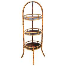 19th Century English Bamboo Lacquer Three-Tier Stand
