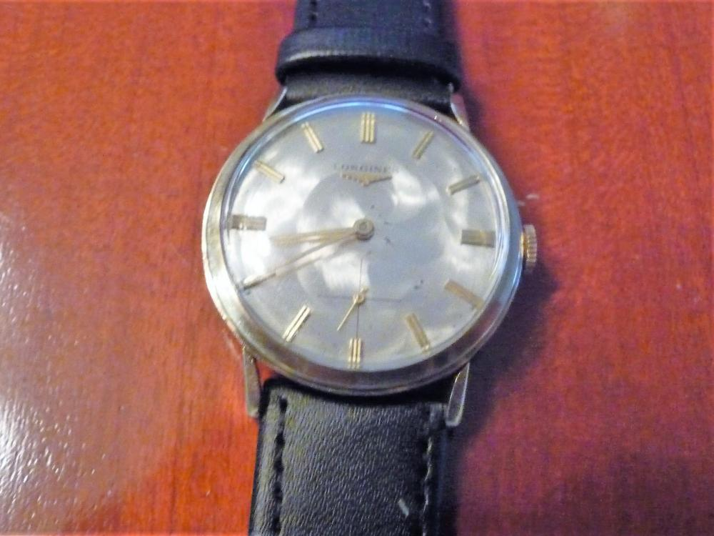 RARE LONGINES SOLID 14K SUBDIAL WATCH W/ SWIRL DIAL