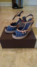 LOUIS VUITTON DENIM SANDAL WEDGES