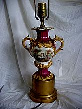 19th Cent. European Porcelain Urn Lamp