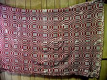 Red, White & Black 1850s Coverlet