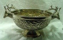 Silver Center Bowl w/Deer Head Handles
