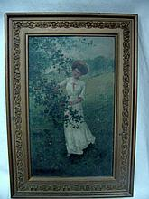 C. C. Beauregard Oil Lady In White Dress by Apple Tree