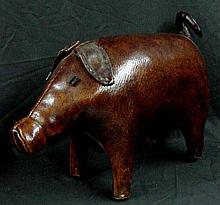 Leather Pig  Large Stuffed Animal 1960s