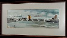 Bill Kidwell Henley St. Bridge Knoxville Tenn Watercolor