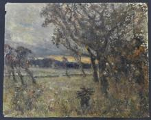 Unframed Rober Alexander Dakers (English 1866 - 1954) Oil Painting on Card