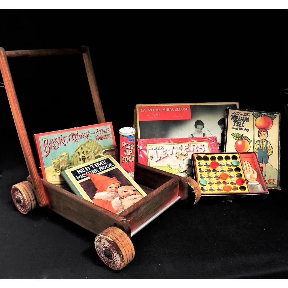 Vintage Child Wooden Walker Pusher and Contents incl Vintage Games - Chad V