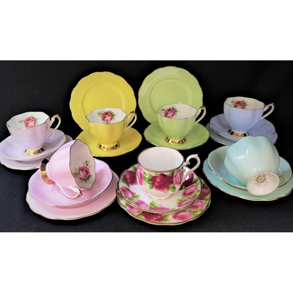 Group lot English China Trios inc Queen Anne Harlequin set of 6 & Royal Alb