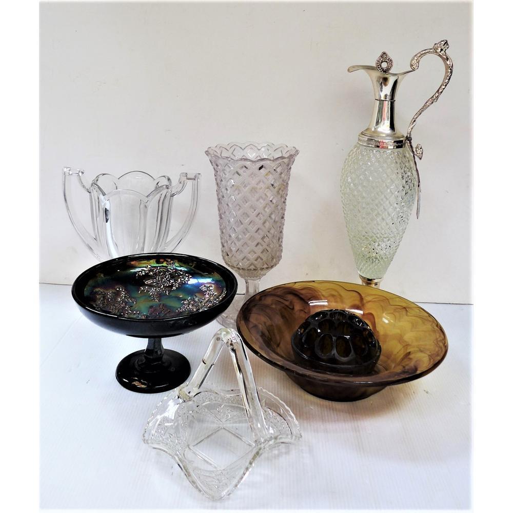 Group Carnival & Glass inc Australian Carnival Glass Compote Amethyst Butte