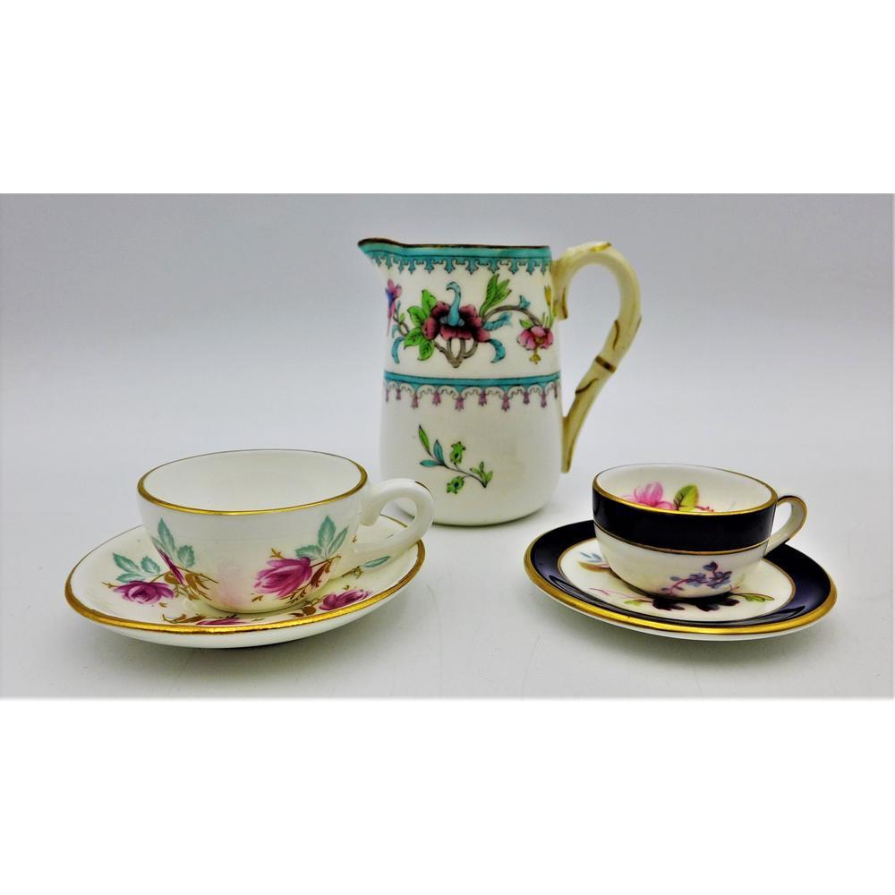 Group lot vintage English China inc Royal Worcester c1911 Milk Jug with fl