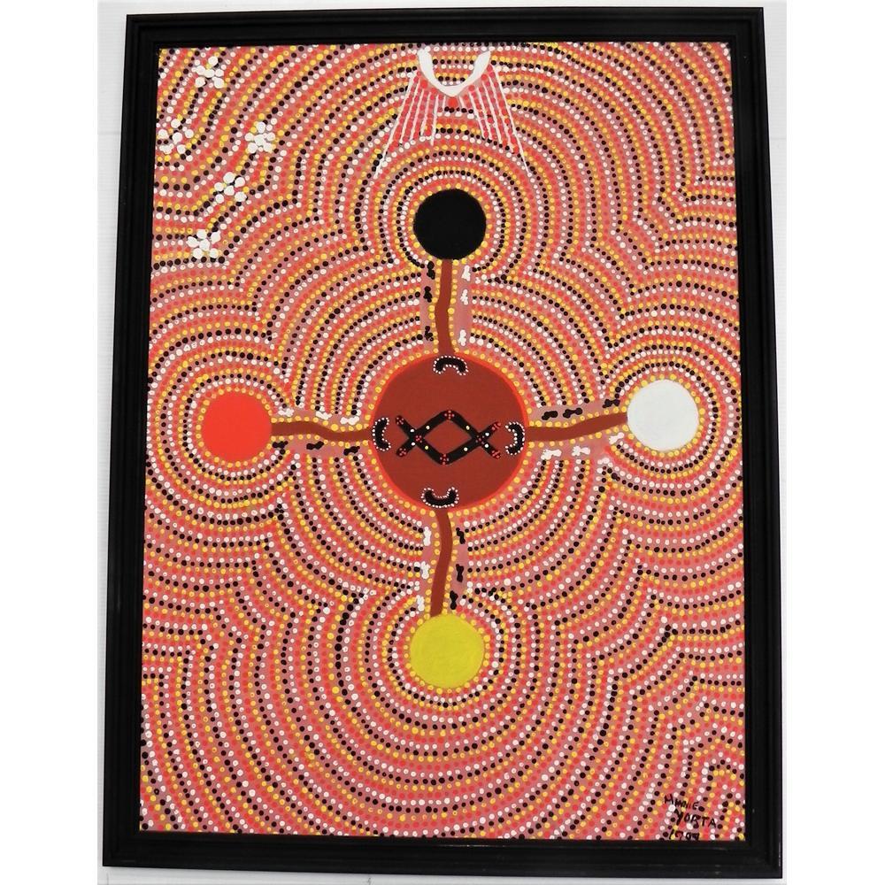 Minni De Angelo Yorta Framed Aboriginal Oil Painting - Jesus loves the Chil