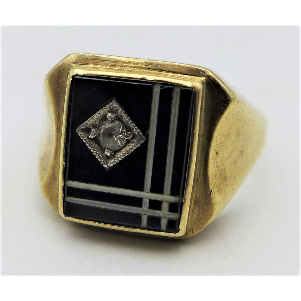 Gents 9ct rose gold square Signet ring - black enamel pattern set with smal