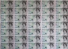 England 1997, 5 Pounds uncut banknotes
