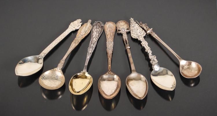 Seven Tiffany Sterling Souvenir Spoons