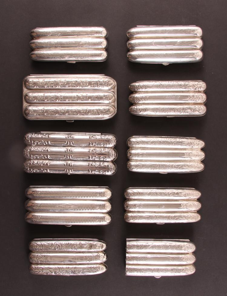 Ten Sterling Silver Cigar Cases