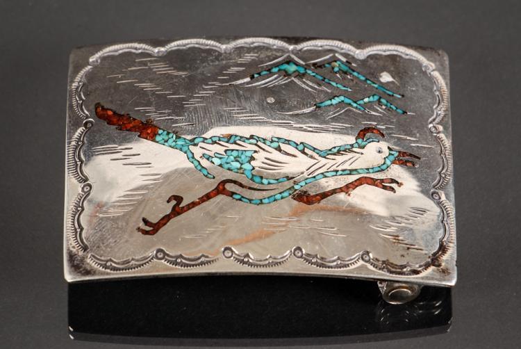 Nakai Navajo Sterling Silver Belt Buckle