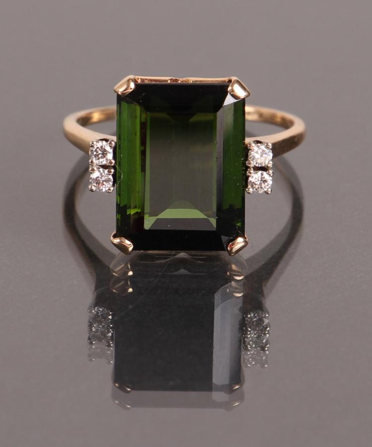 Tourmaline Diamond and Gold Ring