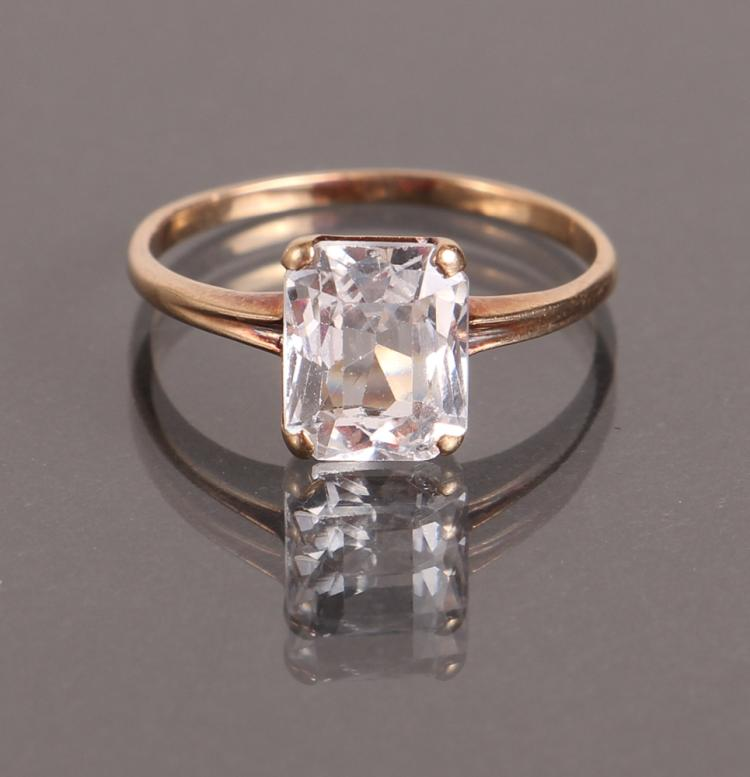 Radiant Cut Vintage Synthetic Sapphire Ring
