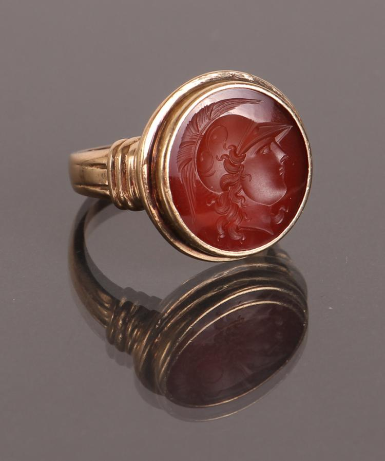 Intaglio Carved Carnelian Ring