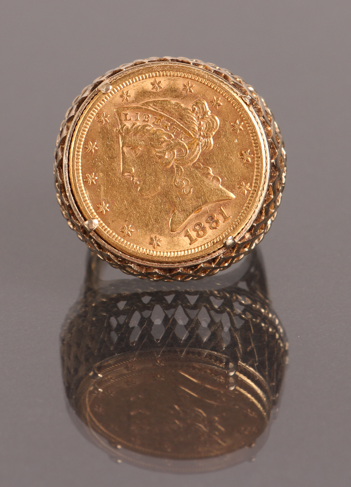 Five Dollar US Gold Piece Ring