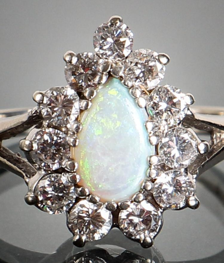 Opal and Diamond White Gold Ring