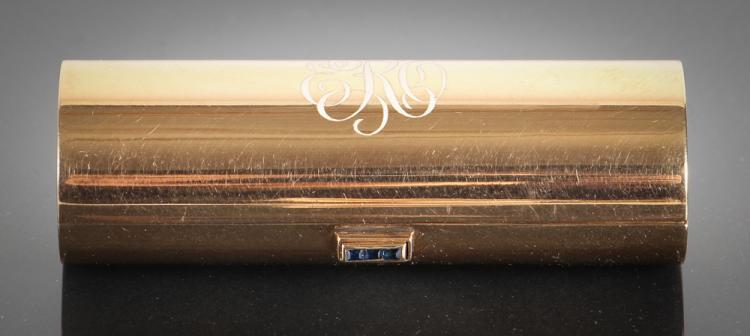 Art Deco 14K Gold and Sapphire Lipstick Case